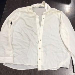 Mango Ivory button down blouse